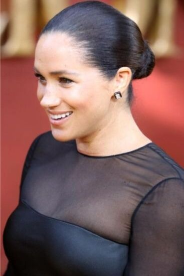 Meghan's hair was pulled back into a sleek bun. Picture: Chris Jackson/Getty ImagesSource:Getty Images