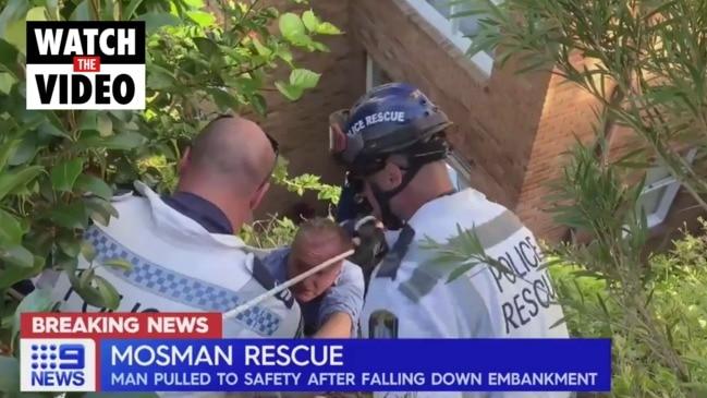 Man pulled to safety after shocking Sydney cliff fall (9 News)