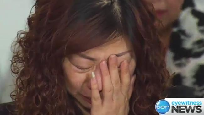 Michelle Leng's mother breaks down at press conference