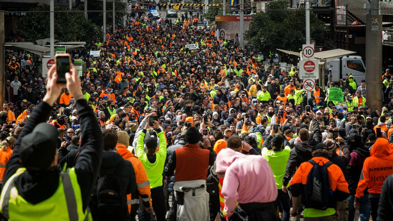 A massive and violent protest tore through Melbourne on Tuesday, sparking chaos and mayhem. Picture: Getty Images