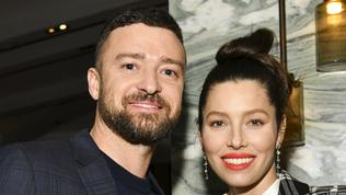 """WEST HOLLYWOOD, CALIFORNIA - FEBRUARY 03: (L-R) Justin Timberlake and Jessica Biel pose for portrait at the Premiere of USA Network's """"The Sinner"""" Season 3 on February 03, 2020 in West Hollywood, California. (Photo by Rodin Eckenroth/Getty Images)"""