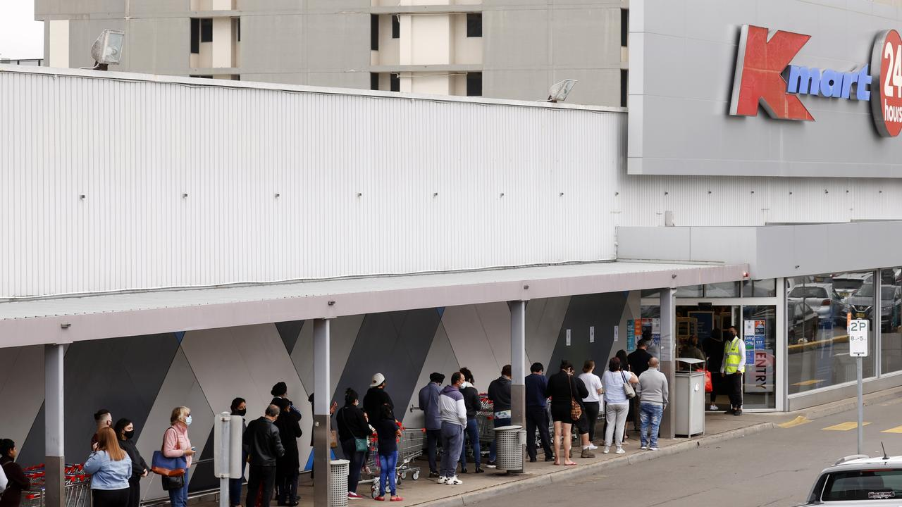 People lining up at Kmart in Blacktown on freedom day as restrictions eased. Picture: Jonatham Ng