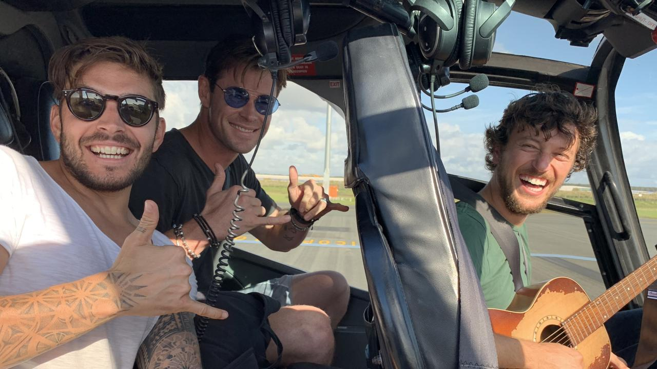 Chris Hemsworth and Luke Zocchi transported hitchhiker Scott Hildebrand from Brisbane to Byron Bay via an Avmin Air Charter private helicopter. Photo: Avmin Air Charte