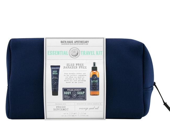 BATH HAUS APOTHECARY ESSENTIAL TRAVEL KIT, $20 FROM TARGET This neoprene wash bag comes with a bergamot and orange peel infused body wash, body spray and soap. It's also paraben, SLES and cruelty free.   THE ULTIMATE CHRISTMAS GIFT GUIDE FOR YOUR FOODIE FRIEND