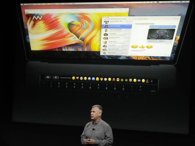 Phil Schiller, Apple's senior vice president of worldwide marketing, speaks about the Touch Bar.  Picture:  AP