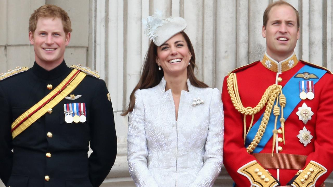 A smiling Prince Harry, Catherine, Duchess of Cambridge and Prince William, Duke of Cambridge at the Queen's birthday parade in 2014. Picture: Chris Jackson/Getty Images