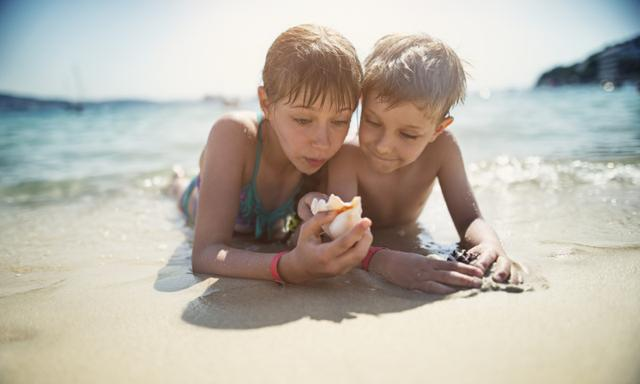 Little girl and her brother are lying on beach and examining sea shells. Sunny summer day.