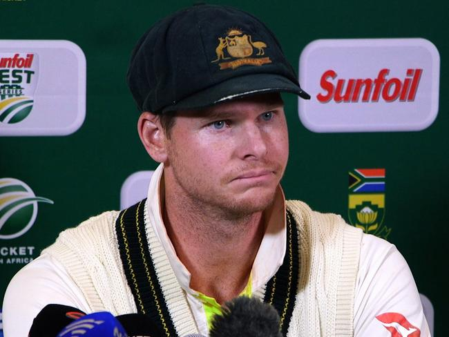 Australia's captain Steve Smith is said to be 'very upset' as he heads home in disgrace along with two teammates after the ball-tampering scandal. Picture: AFP Photo/AFP TV/STR