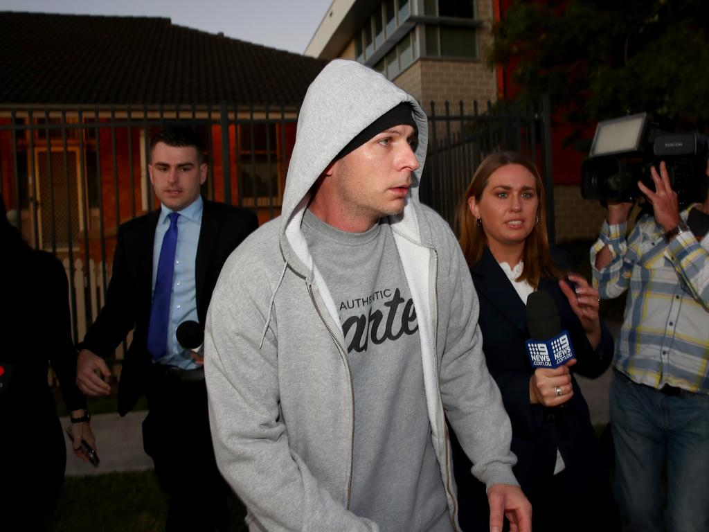 Tommy Balla leaves Riverstone Police Station after being released on bail. Picture: Toby Zerna