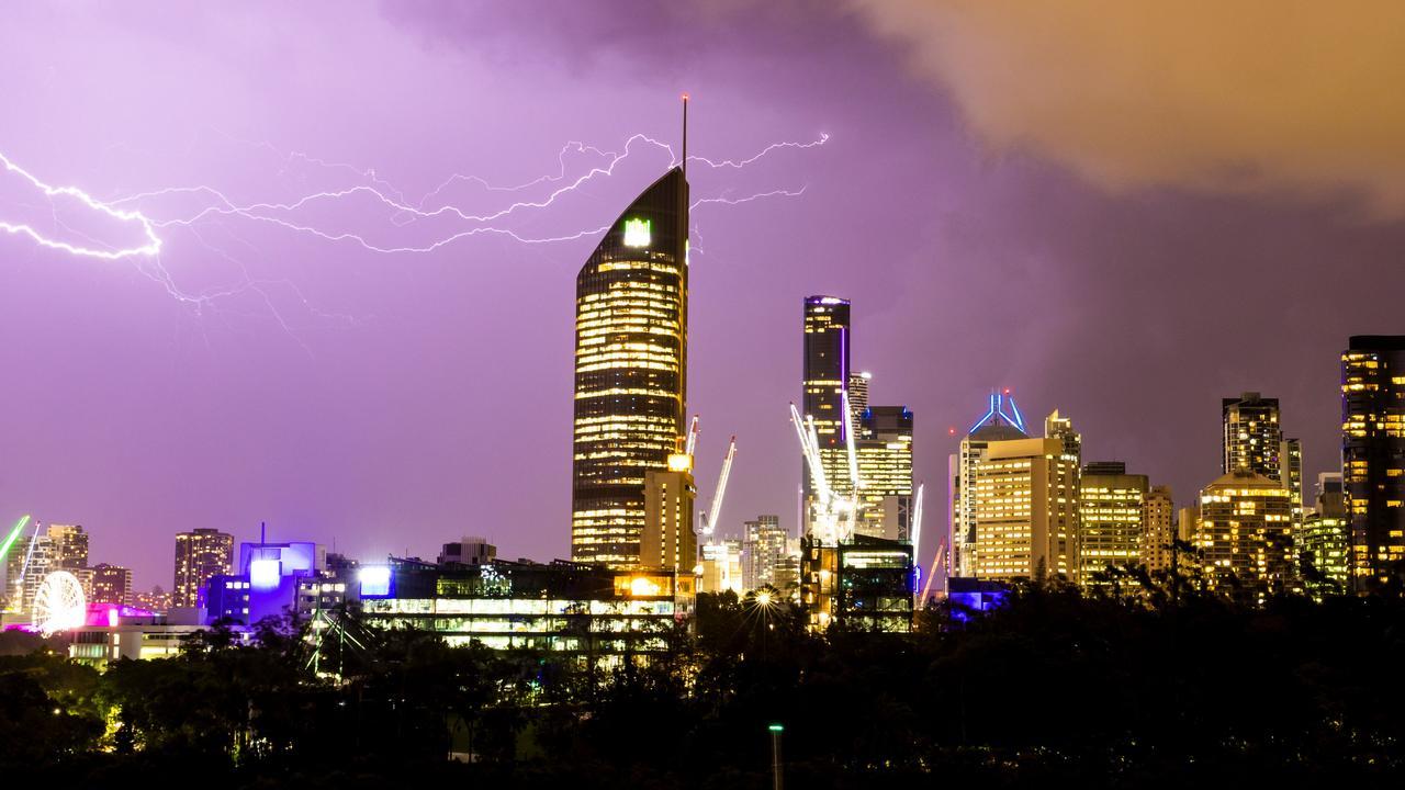 A late afternoon storm over Brisbane CBD last week. Picture: Richard Walker