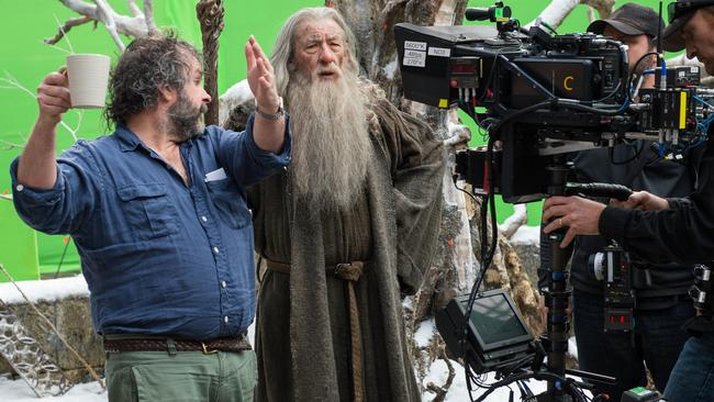"""""""We had such a fantastic cast"""" ... Peter Jackson with Ian McKellen on the set of The Hobbit: The Battle of the Five Armies."""