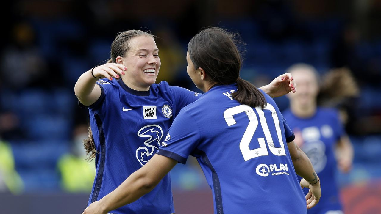 Sam Kerr (right) celebrates with her Chelsea teammate Fran Kirby. Picture: Henry Browne/Getty Images