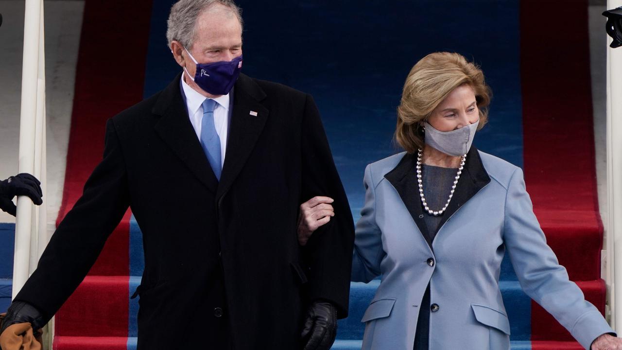 George and Laura Bush at President Joe Biden's inauguration in January. Picture: Patrick Semansky/AFP