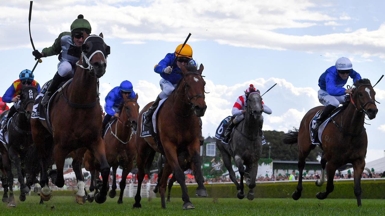 Trekking (far right) finishing third to Yes Yes Yes in the 2019 The TAB Everest is being aimed for a third shot at the race. Picture: AAP Image