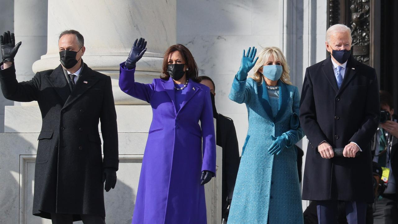 The Bidens with Kamala Harris and her husband Doug Emhoff on Inauguration Day. Picture: Joe Raedle/Getty Images