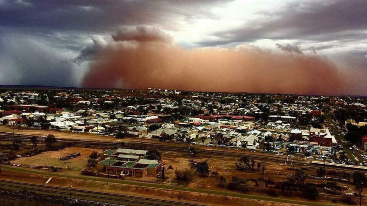 A dust storm heading for Broken Hill turns the sky orange. Recent stories about Broken Hill have mostly been about hot weather and the drought. Picture: NSW SES