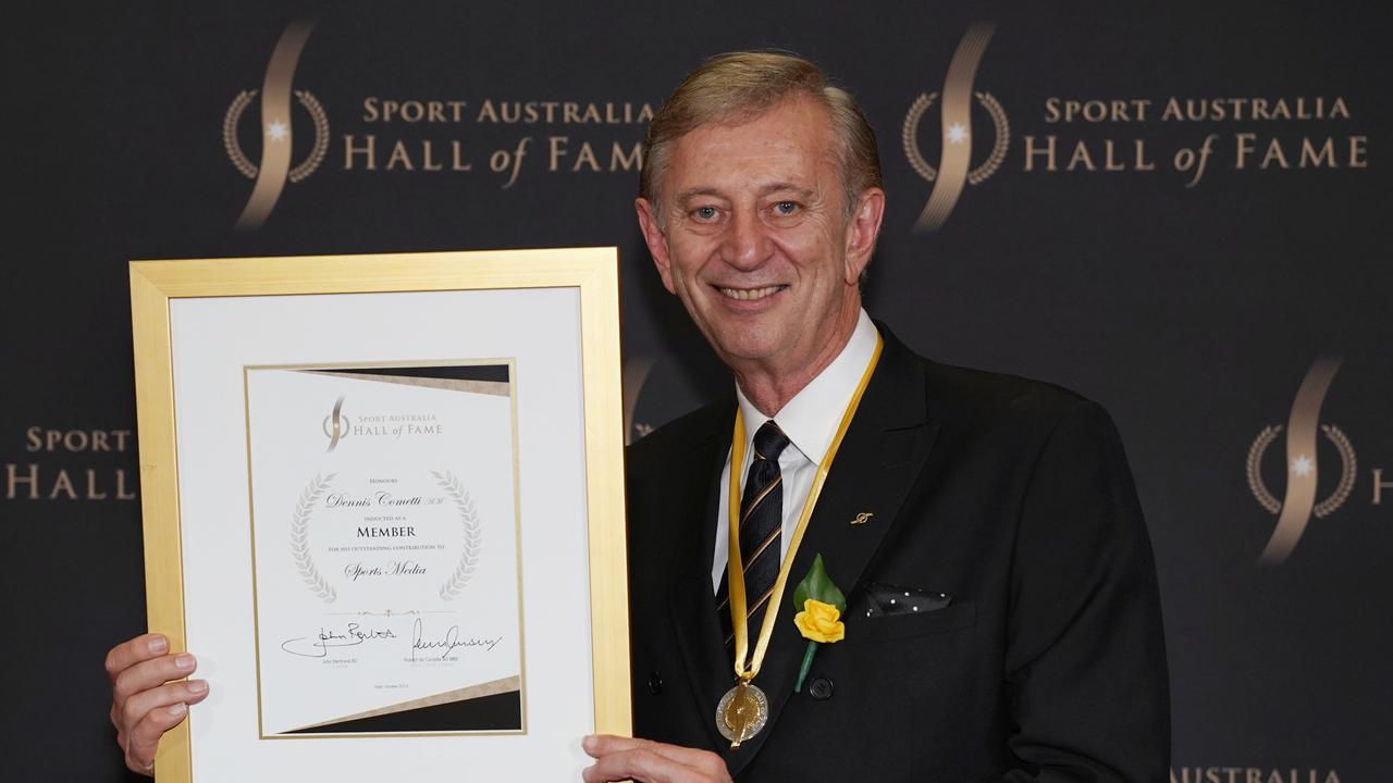 Dennis Cometti inducted to the Sport Australia Hall of Fame in 2019. Photo: AAP Image/Michael Dodge