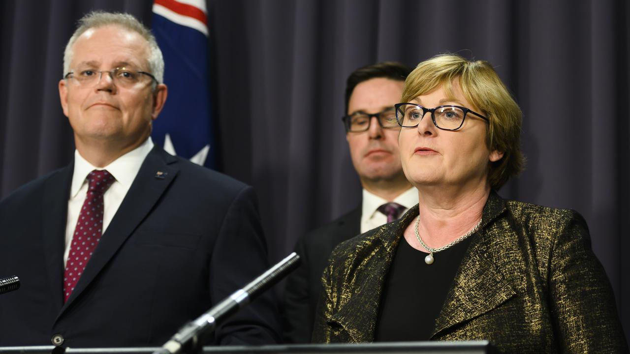 Defence Minister Linda Reynolds speaks during a press conference alongside Prime Minister Scott Morrison (left) and David Littleproud (centre) today. Picture: Rohan Thomson/Getty Images