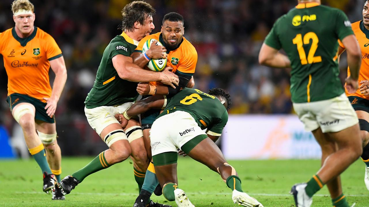 Full contact like this is set to be limited at training around the rugby world. Picture: Albert Perez / Getty Images