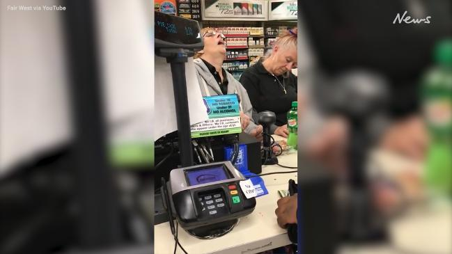 'Drugged cashiers' fall asleep on the checkout while serving a customer