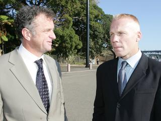 Former Socceroos Graham Arnold (L) and Robbie Slater at Opera House during Football Federation of Australia's announcement that Sydney would host 2006 World Cup Qualifier 2nd leg match against Uruguay.
