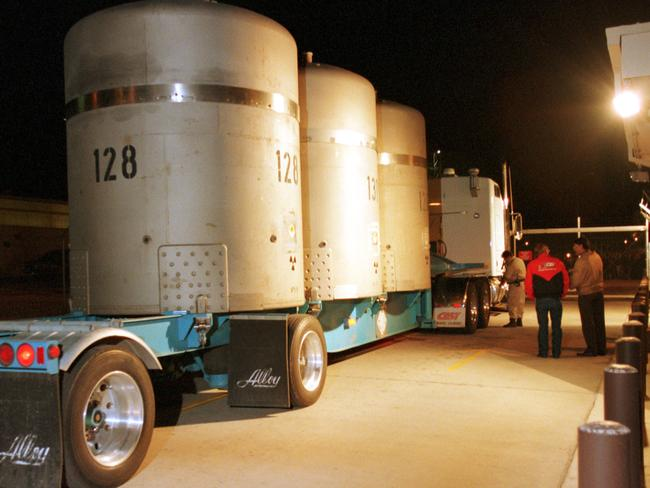 The first load of radioactive waste arrives at WIPP on March 26, 1999. Picture: AP Photo/Thomas Herbert