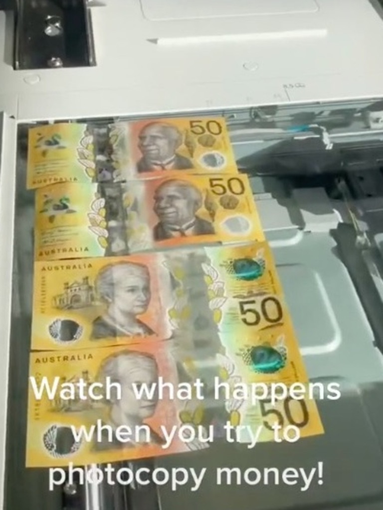 """Damien wanted to """"make it rain"""" with money but the printer thwarted his attempts."""