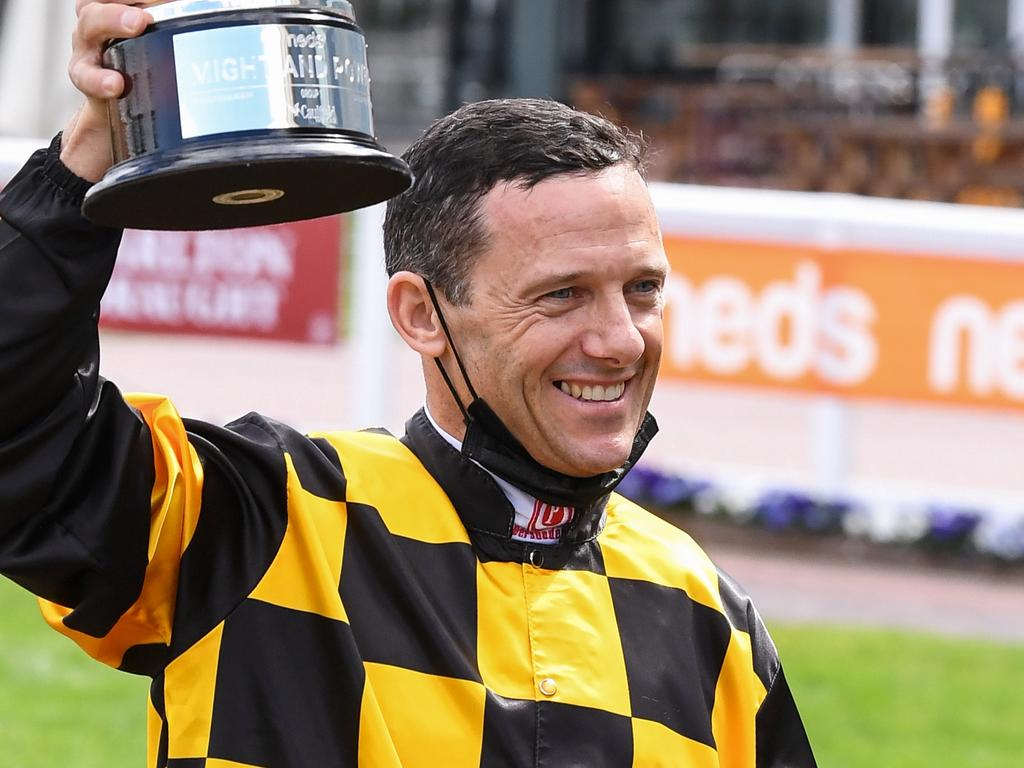 Brett Prebble after winning Neds Might And Power aboard Probabeel (NZ) at Caulfield Racecourse on October 09, 2021 in Caulfield, Australia. (Reg Ryan/Racing Photos via Getty Images)