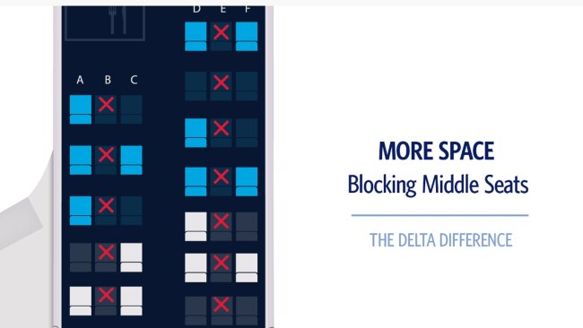 Delta Air Lines will block middle seats on all its aircraft through to at least January 2021. Picture: Delta Air Lines