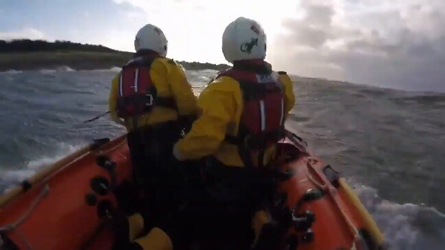 RNLI Rescue Windsurfer From Choppy Water Off Scottish Coast During Storm Dennis