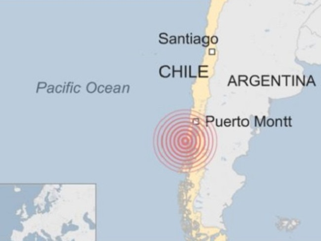 A 7.7 earthquake has struck 225 km southwest of Puerto Montt in southern Chile.  Picture:  Supplied