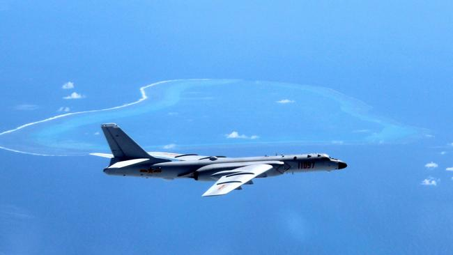 """A Chinese H-6K bomber patrols the islands and reefs in the South China Sea.                          <a capiid=""""2df4ebd7f5df745fa1d38b6599744782"""" class=""""capi-video"""">U.S. accuses China of intimidating neighbours</a>"""
