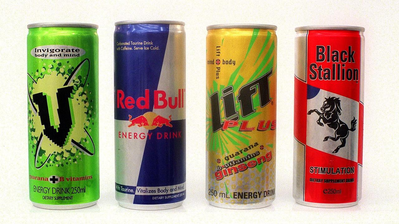 MAY 30, 2001 : Cans of caffeine-loaded sports drinks including V, Red Bull, Lift Plus and Black Stallion, 30/05/01. pic Steve Morenos. Food / Soft Drink / Can