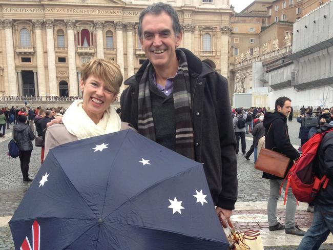 Cardinal Pell's Vatican aide Danny Casey, pictured with his wife Annie, will be at the hearing on Monday. Picture: Charles Miranda / News Corp Australia