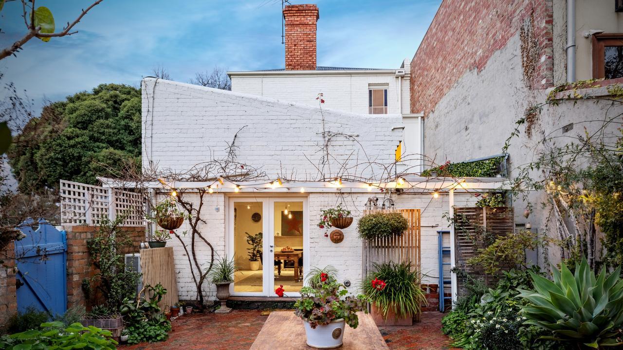 A lush courtyard out back.