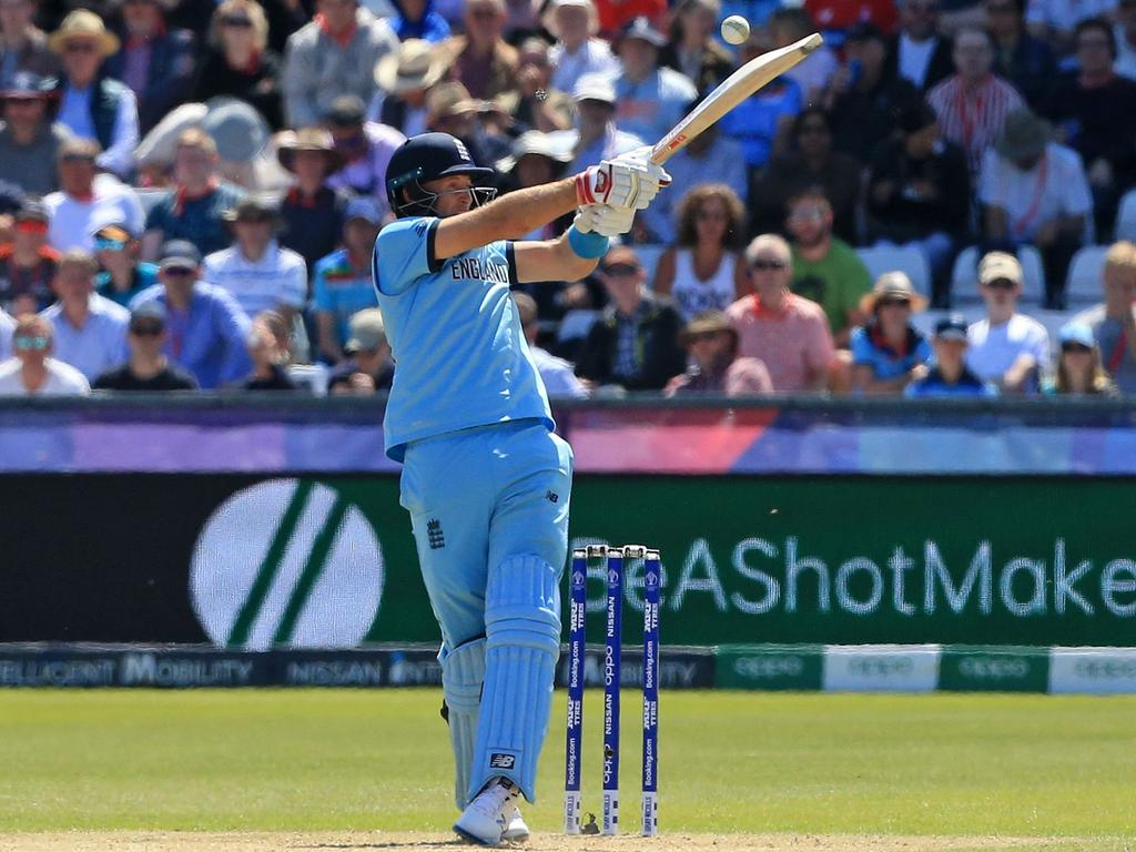 Joe Root plays a shot to lose his wicket for 24 against New Zealand.