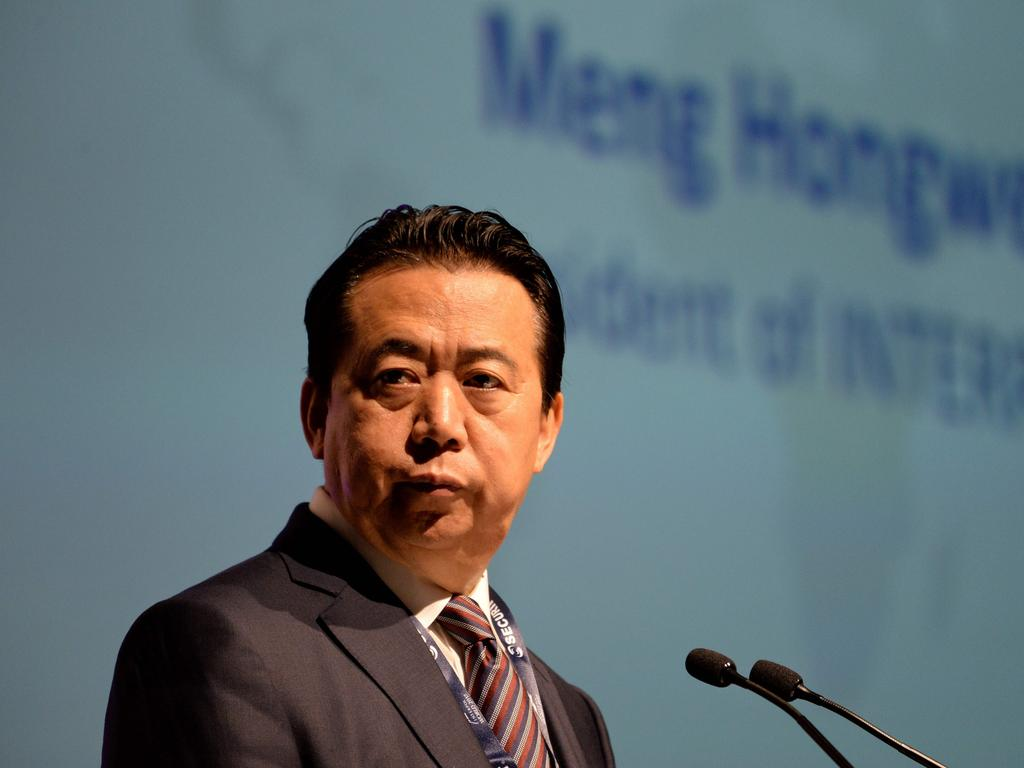 (FILES) In this file photo taken on July 4, 2017 Meng Hongwei, president of Interpol, gives an addresses at the opening of the Interpol World Congress in Singapore. - An investigation into Meng Hongwei's disappearance was launched on October 5, 2018 according to a source close to the case. Meng Hongwei had not been heard since travelling to China at the end of September. (Photo by ROSLAN RAHMAN / AFP)