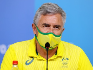 TOKYO, JAPAN - AUGUST 08: Ian Chesterman, Chef de Mission of the Australian Olympic Committee speaks to the media during the Australian Olympic Committee closing press conference on day sixteen of the Tokyo Olympic Games on August 08, 2021 in Tokyo, Japan. (Photo by James Chance/Getty Images)