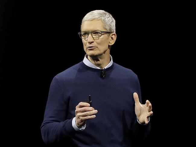 Apple CEO Tim Cook speaks at the Apple Worldwide Developers Conference in San Jose. Picture: Marcio Jose Sanchez/AP