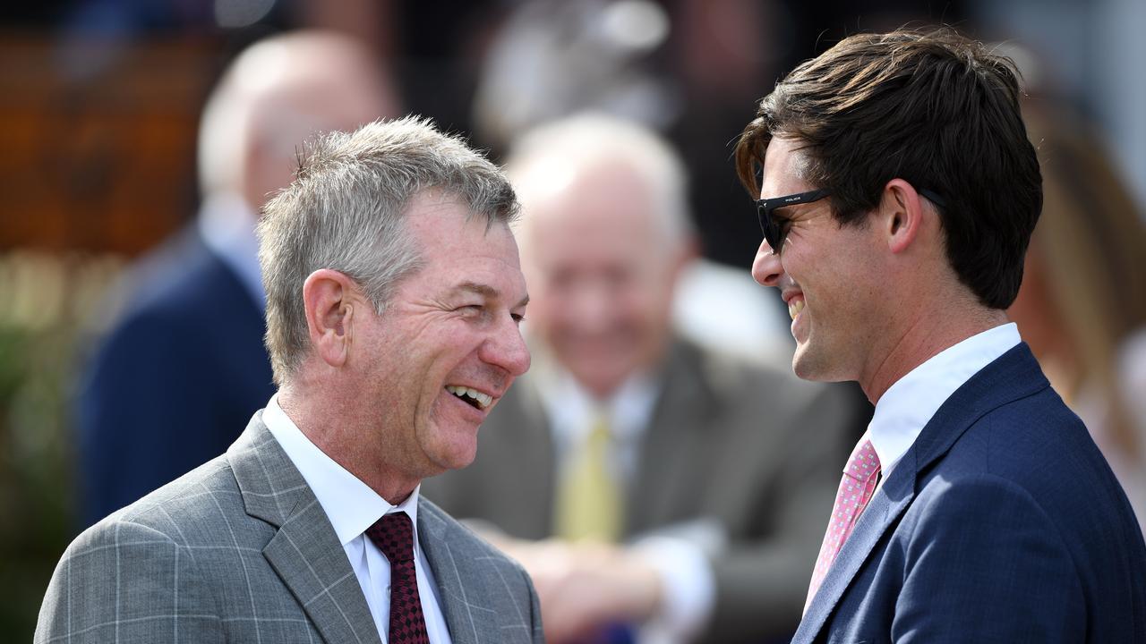Kris Lees shares a joke with James Cummings. Picture: AAP