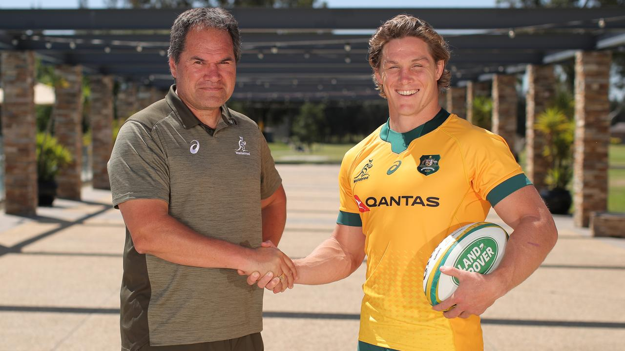 Michael Hooper with Wallabies coach Dave Rennie. (Photo by Matt King/Getty Images)