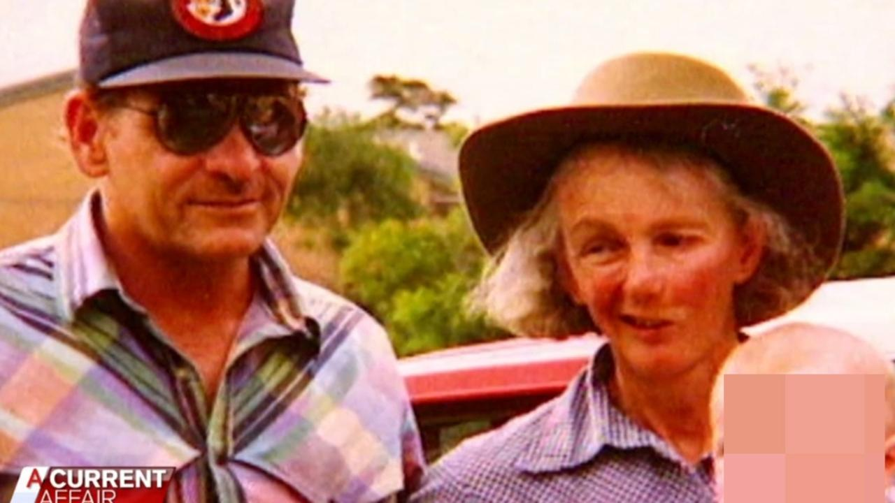 Venet Mulhall (right) with Arthurell in the 1990s after he convinced her he was a converted Christian before he murdered her. Picture: A Current Affair/ Channel 9