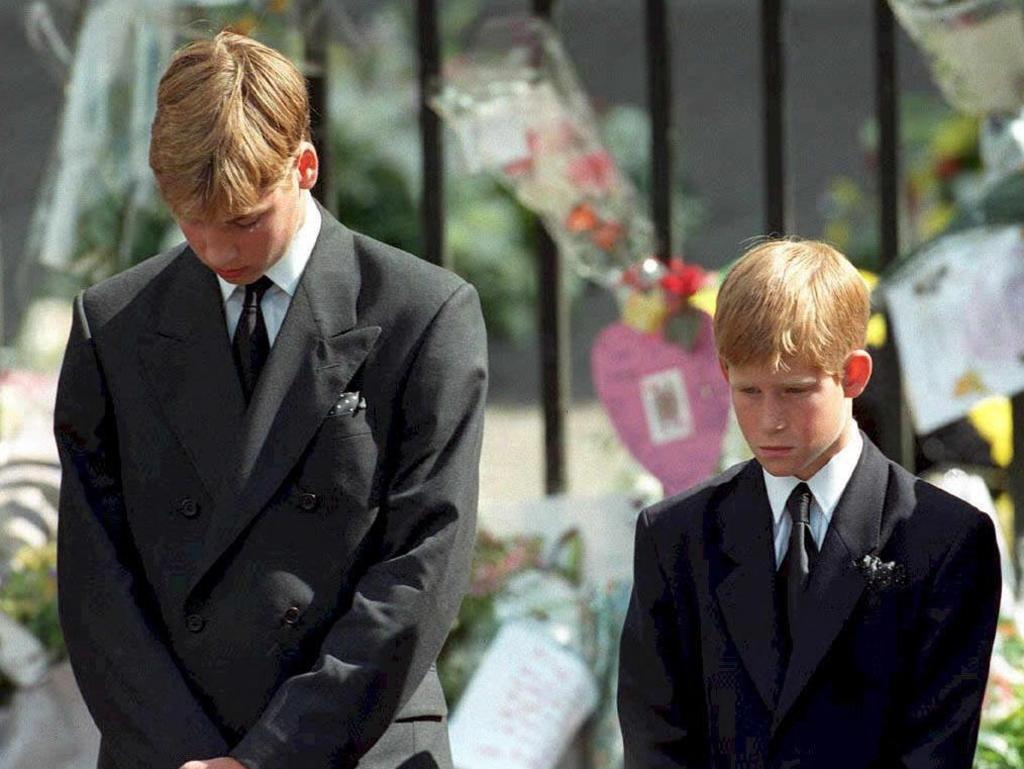 Prince William and Prince Harry at their mother's funeral in 1997. Picture: Aam Butler/AFP