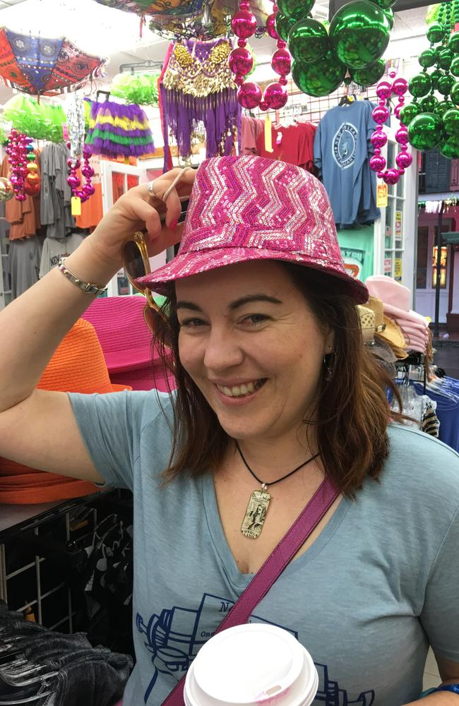 More than a party town ... Rachael Johns gets a jazzy hat in New Orleans