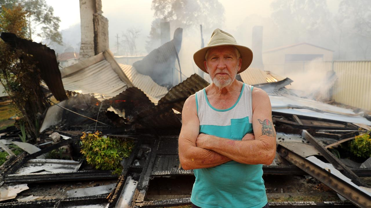 Pat McFarlane at his home on Crane Road in Lithgow yesterday, which was destroyed by a bushfire. Picture: Tim Hunter