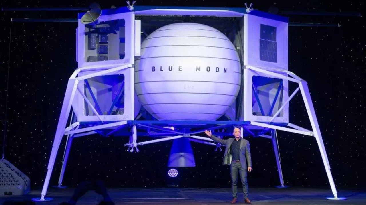Jeff Bezos also unveiled a Blue Origin moon lander last week. Picture: AFP