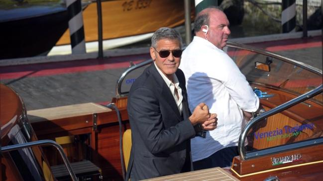George Clooney arrives at Venice Film Festival in style
