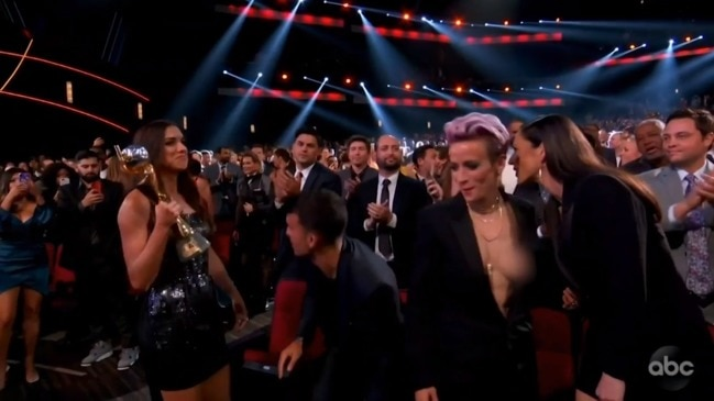 Megan Rapinoe suffers wardrobe malfunction at ESPYs (ABC)