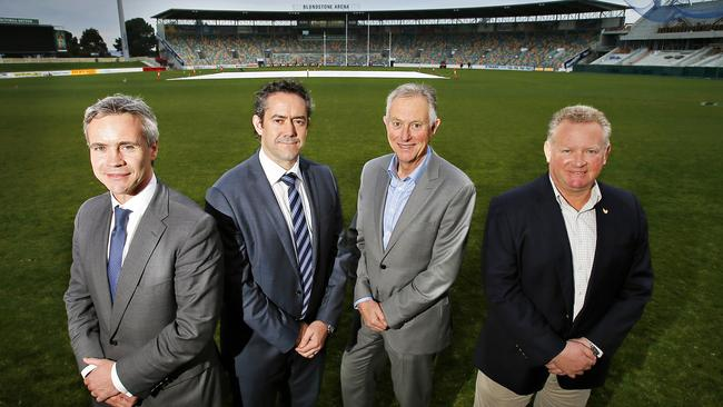 North Melbourne chief executive Carl Dilena, AFL GM of Broadcasting, Scheduling and Major Projects, Simon Lethlean, Cricket Tasmania CEO David Johnston and Chairman of TT Line, David Grainger at Blundstone Arena discussed North Melbourne's future in Tasmania.