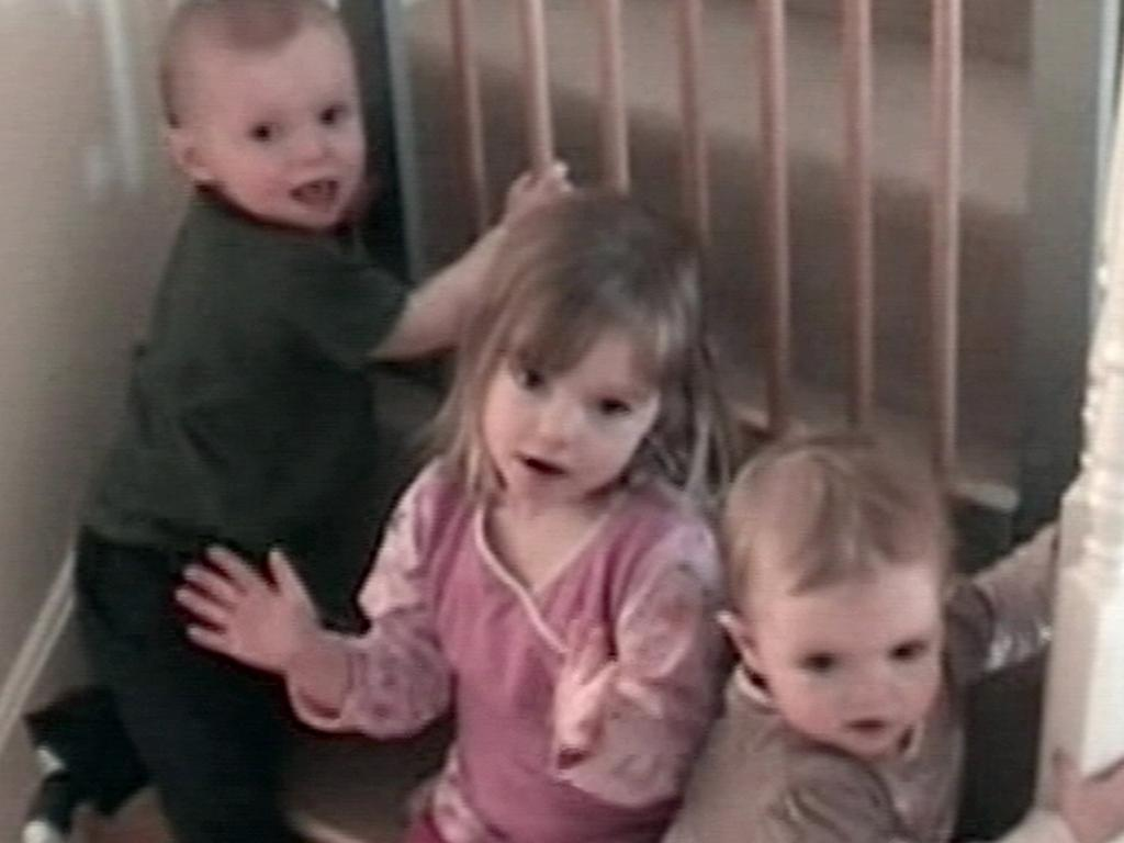 British girl Madeleine McCann, flanked by her younger siblings, twins Sean and Amelie, five months before she disappeared. Picture: AFP